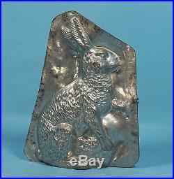 1' Huge Antique Metal Chocolate Mold Rabbit Bunny Easter Basket Eppelsheimer
