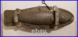 13 Big Fish Poisson Beautiful Chocolate Tin Pewter Mold Vintage Antique 33 CM