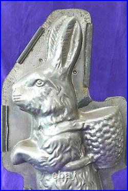18 Antique Weygandt 236 Easter Bunny Rabbit Basket Clamp Chocolate Candy Mold