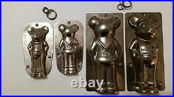 2 Mickey Mouse Small And Big Tin Pewter Dutch Chocolate Molds Vintage Antique