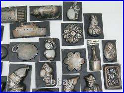 27 Antique Tin Butter or Chocolate Candy Molds Ranging from 1.5 to 4