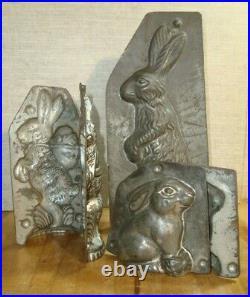 3 Rabbit form Chocolate antique metal molds Early 20th Bilco Zurich Switzerland