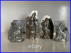 4 Rabbit form Chocolate antique metal molds Early 20th All Marked with Numbers