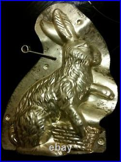 9 Large Curved Bunny Rabbit Easter Tin Pewter Chocolate Mold Vintage Antique