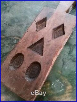A Super Rare Carved Wood Chocolate Mould Treen Primitive Folk Art