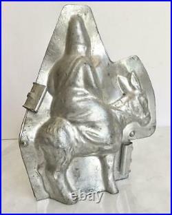 ANTIQUE CHOCOLATE LETANG 3809 st Nicholas riding mule DONKEY SANTA MOLD