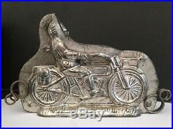 ANTIQUE CHOCOLATE MOLD KUTZSCHER NR 5929 Harley Davidson WITH DRIVER SUPER RARE