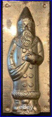 ANTIQUE FATHER CHRISTMAS/SANTA METAL CHOCOLATE MOLD WithORIGINAL CLIPS