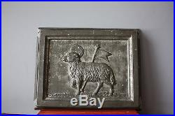 Antique Metal Chocolate Mold Large Postcard Easter Sheep 1924 Anton Reiche