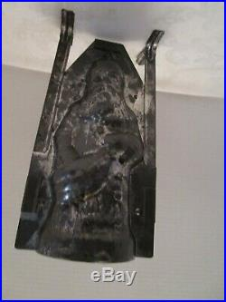 ANTIQUE SANTA CLAUS Tin Metal 9 ¾ CANDY CHOCOLATE MOLD original clips Germany