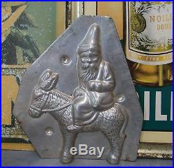 ANTIQUE VINTAGE FRENCH CHOCOLATE MOLD MOULD Santa Donkey STAMPED 5.51