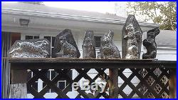 Antique 2 pc chocolate candy mold running garden bunny large Faburg NYC withclips