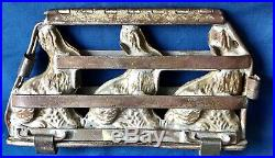 Antique 3 Easter Bunny / Rabbit Chocolate Mold Anton Reich