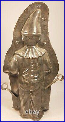 Antique Angry Clown Chocolate Mold Man in Moon Figurine Vintage Metal Candy
