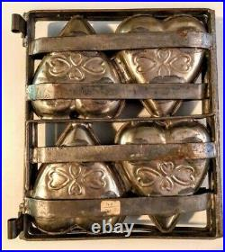 Antique CHOCOLATE CANDY MOLD TO MY VALENTINE 4 Compartment Hinged