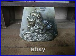Antique CHOCOLATE MOLD Gnome Riding Easter Bunny Rabbit with Egg Basket Unusual