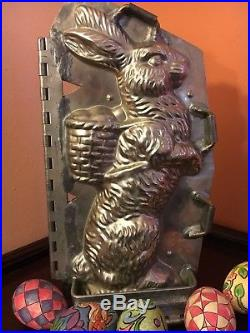 Antique Chocolate Mold -11 1/4 Sitting Up Rabbit with Basket with Provenance