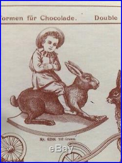 Antique Chocolate Mold Anton Reiche Nr 6388 Victorian Boy On The Back Of Rabbit