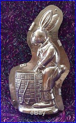 Antique Chocolate Mold Jumbo Bunny withBasket Hornlein