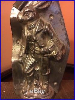 Antique Chocolate Mold RARE H Walter Dapper Hiking Rabbit #4639 B3