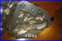 Antique Chocolate Mold Rabbit Riding a Dolphin or Fish French, Paris France