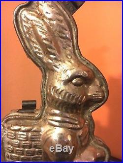 Antique Chocolate Mold Rabbit on Milestone 15 Km Hasenheim #4154 RARE A3
