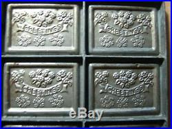 Antique Chocolate Mold SEASONS GREETINGS Silver Solder Factory Steel 1930's
