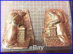 Antique Chocolate Mold VERY RARE -LeTang Santa on Roof Putting Toys in Chimney