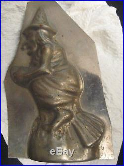 Antique Chocolate WITCH/BROOMSTICK METAL/TIN MOLD! Kitchen Vintage Very Cool