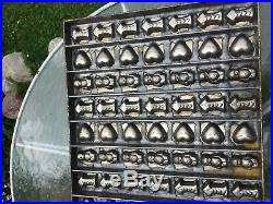 Antique Commercial Chocolate Candy Metal Mold LARGE- Hearts, Babies