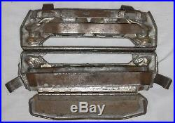 Antique Double Easter Rabbit Bunny Pulling Cart With Eggs Chocolate Metal Mold