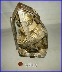 Antique Double Hinge + Clamp Tinned Chocolate Mold LARGE 8 ACCORDION CLOWN