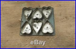 Antique Early Wonderful Tin 6 Heart Chocolate Mold Form Pan Hanging Patina AAFA