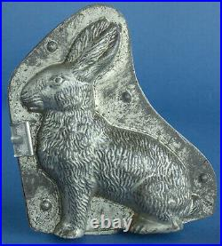 Antique Easter Bunny/Rabbit Chocolate Mold, Double Mold withClip, Ca 1890-1920s