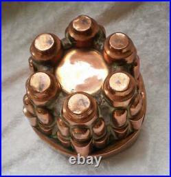 Antique English Copper Pudding Chocolate Mold Turret Design-1800's