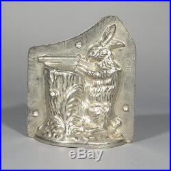 Antique French Chocolate Mold, Hunting Rabbit Shotgun Hunter Bunny Signed Létang