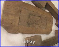 Antique French butter mold Wood Cow Carved Chocolate Form Culinary Farm France