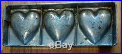 Antique German Pewter Chocolate Food Mold 3 Puffy Folkart Heart Mould Aafa