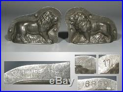 Antique German Tinned Metal Chocolate Mold, Lion, Signed Anton Reiche, Dresden
