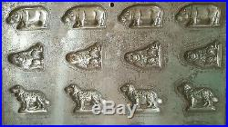 Antique German chocolate mold Anton Reiche Dresden dog monkey buffalo hippo