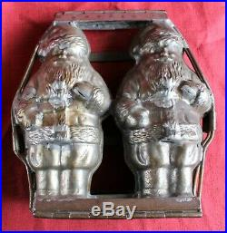 Antique Hinged Double Santa Claus Chocolate Mold (Anton Reiche, Germany) c. 1920