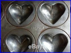 Antique Kreamer Tin 12 Puffy Folk Heart Chocolate Tart Muffin Food Mold Mould