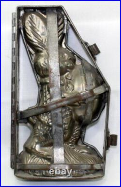 Antique Large Easter Bunny Rabbit Tin Chocolate Mold 11-5/8
