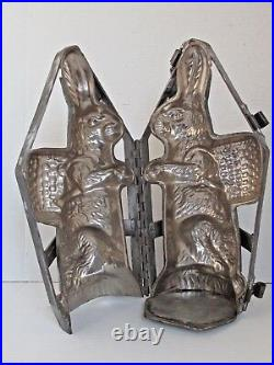 Antique Large Rabbit Chocolate Mold with Basket on His or Her Back 15 tall
