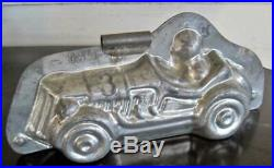 Antique Laurosch Tin Chocolate Mold Mould of Man Driving Race Car #3060 Germany
