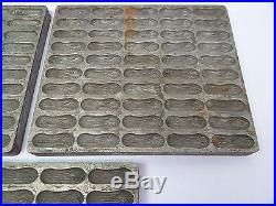 Antique Lot Three Old Metal Peanut Shaped Chocolate Candy Food Mold Trays Used