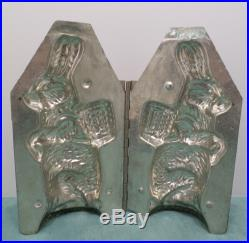 Antique Metal Chocolate Candy mold Easter Bunny Rabbit with Basket of Eggs
