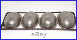 Antique Metal Egg Chocolate Candy Ice Cream Mold 4 Large Easter Half Eggs