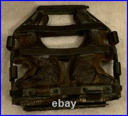 Antique Metal Hinged 6 Double Chocolate Bunny Candy Mold