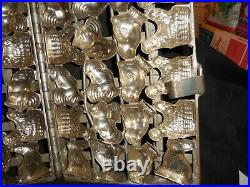 Antique Metal Hinged Chocolate Mold 24 Assorted Bunnies, Chix & Chix withBaskets